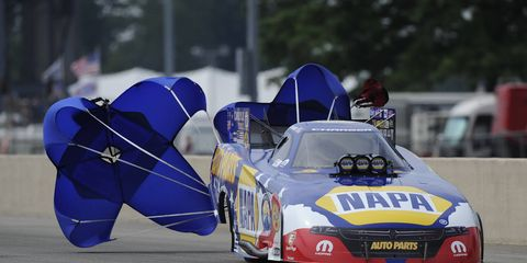 NHRA Funny Car points leader Ron Capps outraced Courtney Force for the win on Sunday at Norwalk, Ohio.