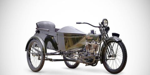 This 1922 Harley-Davidson 1,200cc Model JD Motorcycle Combination will be among the 60 motorcycles going up for auction.