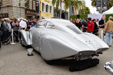 """The Rodeo Drive Concours had a little bit of everything, half of it painted silver. Here is the 1938 Hispano Suiza H6B Dubonnet Xenia owned by the Mullin Automotive Museum that was awarded """"Best of Show"""" honors."""