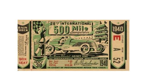This ticket stub from the 1940 Indy 500 features a speeding race car and the famous pagoda.