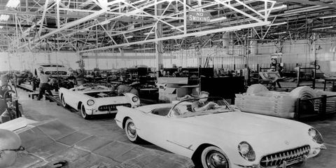 Some of the first Corvettes rolling down the production line in Flint, Michigan.