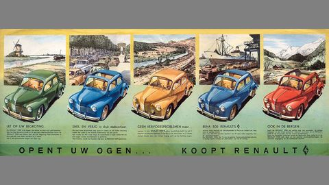 So many colors of 4CV available for car shoppers in The Netherlands in 1954!