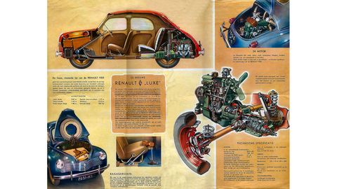 Nice cutaway views of the powertrain, showing straight-four water-cooled engine and swingaxle rear.