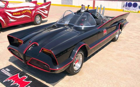 The Batmobile, built off the 1955 Lincoln Futura concept that George bought in the early '60s.