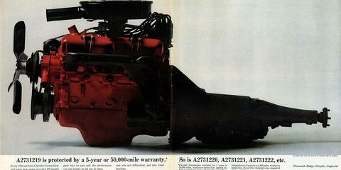 This appears to be a 273-cubic-inch V8, as installed in many Dodge Darts, Plymouth Valiants, and various Chrysler-made trucks.