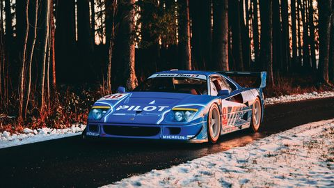 Painted in French racing blue and wearing an awesome mid-1990s racing livery, this Ferrari F40 LM is a high-powered lightweight headed to the 2019 RM Sotheby's Paris auction.