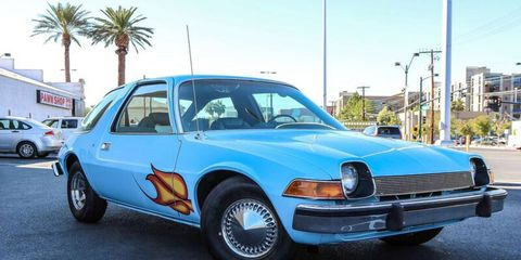 """The blue AMC Pacer from the 1992 movie """"Wayne's World."""""""