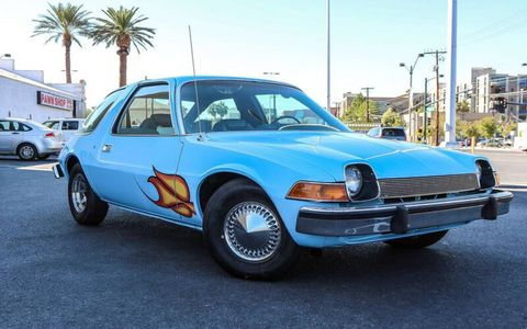 "The blue AMC Pacer from the 1992 movie ""Wayne's World."""