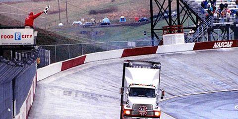 Peter Jellen took the team hauler on a final lap at Bristol Motor Speedway to honor his fallen boss.