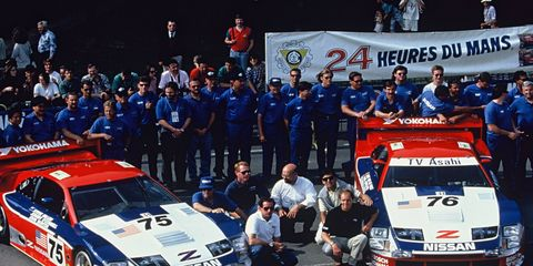 To commemorate its 1994 championship season, Nissan and Millen are bringing the Le Mans-winning No. 75 300ZX (chassis no. 7), as well as a number of the original crew members, out of retirement to compete at the 2014 Rolex Monterey Motorsports Reunion at Mazda Raceway Laguna Seca Raceway, in Monterey, Calif. from August 14 through 17. Here, Steve Millen (front left) is pictured with the 1994 Le Mans winning CCR Team.