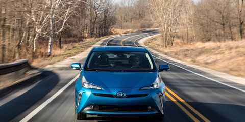 For 2019, the Toyota Prius gains optional all-wheel drive. Dubbed AWD-e, the system adds an electric motor that powers the rear wheels from 0 to 6 mph, and then up to 43 mph as needed.