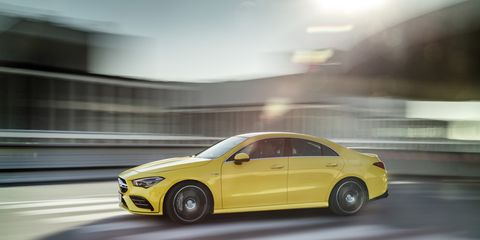 The 2020 Mercedes-AMG CLA35 is equipped with a 302-hp turbocharged 2.0-liter inline four sending power to all four wheels through a seven-speed dual-clutch transmission. It's expected to do 0-60 mph in 4.6 seconds. The interior is loaded with technology, including the Mercedes-Benz MBUX digital assistant.