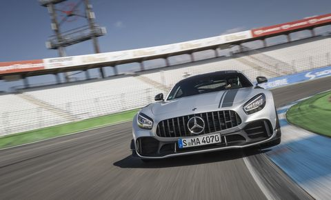 The 2020 Mercedes AMG GT R Pro in a slightly less conspicuous silver paint