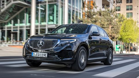 Combined output of the 2020 Mercedes-Benz EQC 400 is 402 hp and 561 lb ft, good enough for a 4.9-second 0-60 mph sprint.