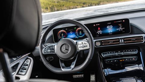 The 2020 Mercedes-Benz EQC 400 is equipped with the same stylish and tech-forward cabin that highlights all Benz vehicles.