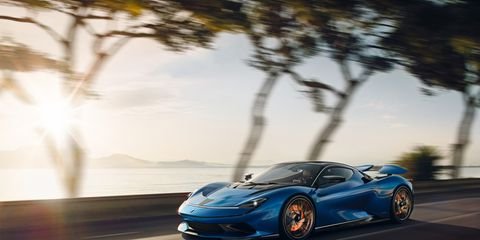 """Four-motor, 1900-hp screamer will go 250 mph, offer 300-mile range, 0-60 under two seconds. This color is called, """"Blue."""""""