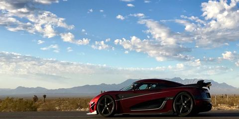 The Koenigsegg Agera RS in the middle of the Nevada desert to attempt a record breaking top speed run