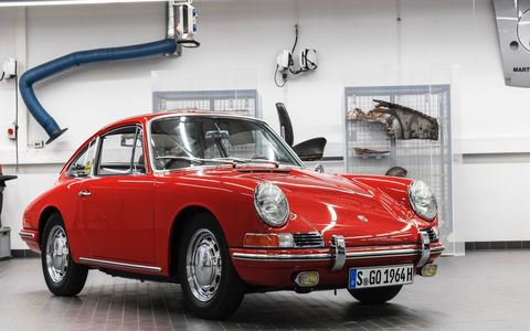 TV crews found this Porsche 901 in a barn in 2014; the museum has been restoring it ever since.