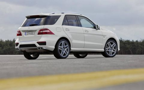 The 2012 Mercedes-Benz ML63 AMG has a twin turbocharged 5.5 liter V8.