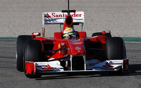 Felipe Massa was back on the track Monday in the new F10.