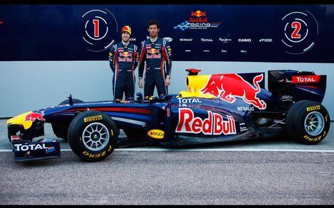 Sebastian Vettel and Mark Webber with the new Red Bull RB7