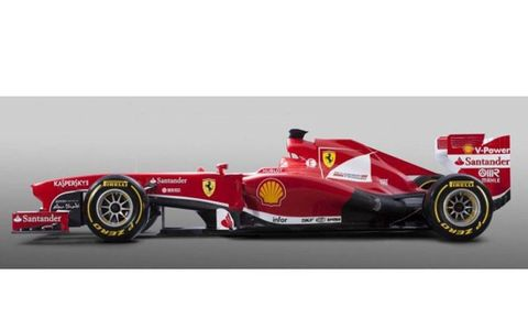 A side view of Ferrari's F138 for 2013.