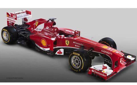 The Ferrari F138 that will be driven by Fernando Alonso and Felipe Massa in the 2013 Formula One season.