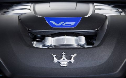 The Maserati Ghibli is powered by a 404-hp Ferrari-built twin-turbo V6.