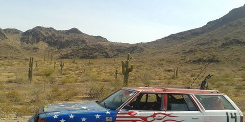 Fine racing automobiles such as this one will be fender to fender on the LeMons Rally. With the saguaros in the background, this is obviously not Death Valley, but it's close enough.