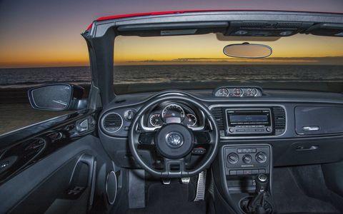 The 2014 Volkswagen Beetle Convertible TDI receives an EPA-estimated 32 mpg combined fuel economy.
