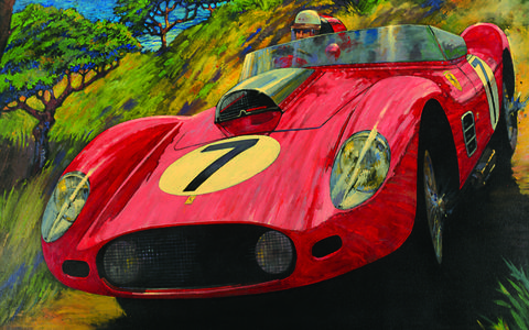 Rowe's poster for the 2014 Pebble Beach Tour features the Fantuzzi-bodied Testarossa that won Sebring in 1959.