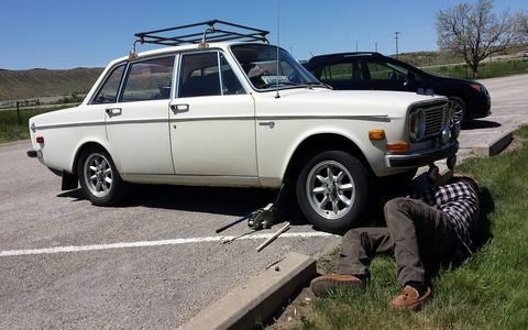 On the way back to Denver from Salt Lake City, I paused at a rest stop on I-80 in western Wyoming and spotted this Volvo 144 getting some front-suspension repair. The owner was driving from Rhode Island to California. I offered to help, but he said he had the problem mostly solved. Driving a brand-new Subaru made me feel like I was missing out on a true American road-trip experience.