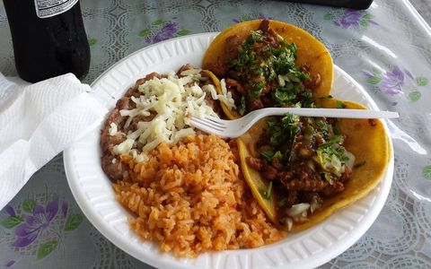 Some of the bigger taco trucks offer full combination plates, with rice and beans.