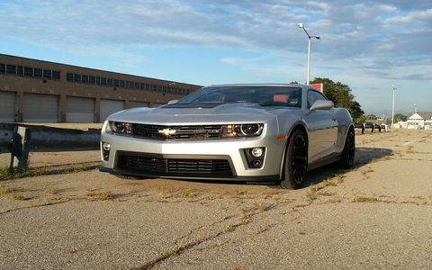 The 2015 Chevrolet Camaro ZL1 Coupe has more power than the stock tires can handle.