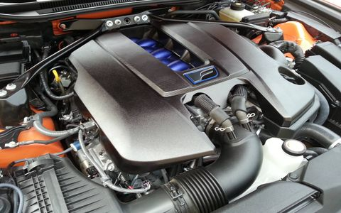 The 2015 Lexus RC F is equipped with a 5.0-liter V8 backed with an eight-speed automatic gearbox.