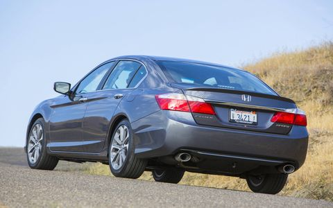 The 2014 Honda Accord Sport Sedan receives an EPA-estimated 27 mpg combined fuel economy.
