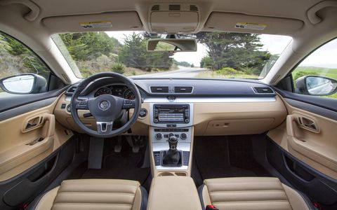 The interior of the 2015 Volkswagen CC 2.0T Sport features elegantly sculpted seats upholstered in a pleated, perforated material. And while it is a leatherette, it's still a really good material.