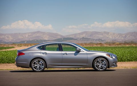 The Q70's 3.7-liter V6 makes 330 hp and 270 lb-ft of torque.