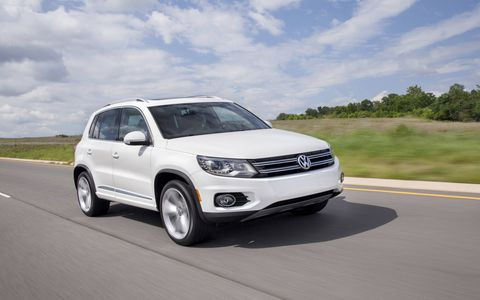 The 2014 Volkswagen Tiguan SE comes in at a base price of $28,205 with our tester topping off at $28,205.