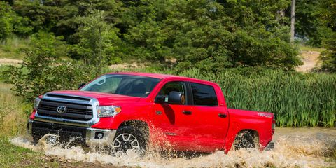 The Tundra TRD Pro model is equipped with special off-road suspension and an available spray-in bed liner.