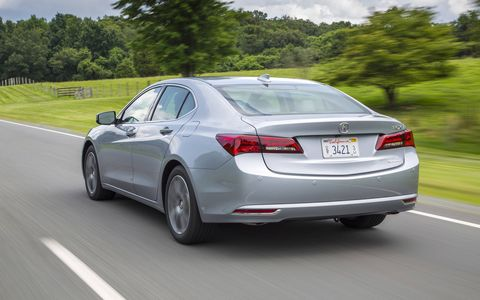 We'd call the 2015 Acura TLX a handsome car. Trimmed front and rear overhangs help with overall proportions.