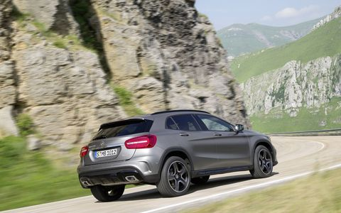 The 2015 GLA250 4MATIC features a turbocharged 2.0-liter gasoline engine that generates 208 hp and 258 lb-ft. of torque.