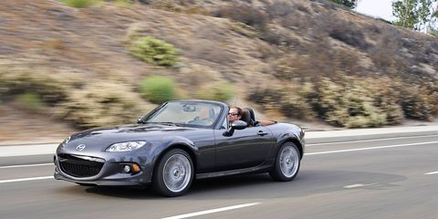 The Miata is perfect for back roads -- but is it up to the challenge of a 1,000-mile road trip (2015 MX-5 shown in photos).