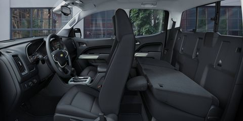 From the inside of the 2015 Chevrolet Colorado LT Crew Cab it's unmistakably a Chevy truck.