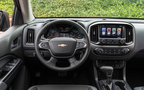 The interior of the 2015 Chevrolet Colorado LT Crew Cab is roomy, rugged and functional.