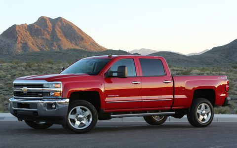 The 2015 Chevrolet Silverado 2500HD LTZ Z71 Crew Cab is equipped with a 6.6-liter turbocharged diesel V8.