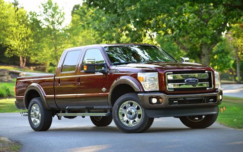 The 2015 Ford F-350 Super Duty King Ranch Crew Cab is a real beast.