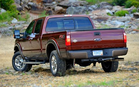 The 2015 Ford F-350 Super Duty King Ranch Crew Cab isn't difficult to pilot around.