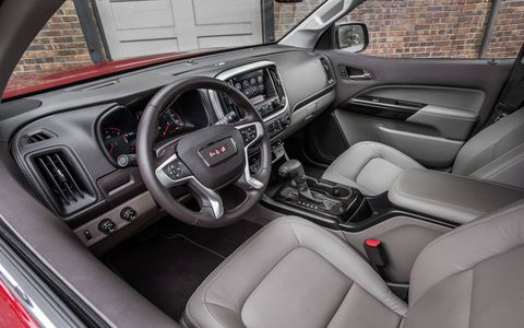 The interior of the 2015 GMC Canyon SLE Crew Cab Short Box is well thought-out and well assembled.