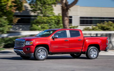 The 2015 GMC Canyon SLE Crew Cab Short Box comes in at a base price of $34,935 with our tester topping off at $39,090.